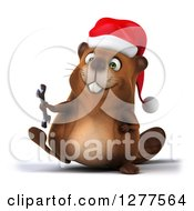 Clipart Of A 3d Christmas Beaver Walking With A Wrench Royalty Free Illustration by Julos