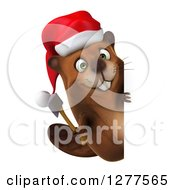Clipart Of A 3d Christmas Beaver Holding An Axe Around A Sign Royalty Free Illustration by Julos