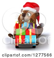 Clipart Of A 3d Christmas Beaver Moving Gifts On A Dolly 2 Royalty Free Illustration