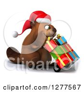 Clipart Of A 3d Christmas Beaver Moving Gifts On A Dolly 3 Royalty Free Illustration