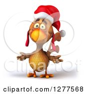 Clipart Of A 3d Brown Christmas Chicken Shrugging Royalty Free Illustration