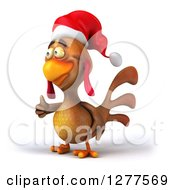 Clipart Of A 3d Brown Christmas Chicken Holding A Thumb Up And Facing Left Royalty Free Illustration