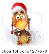 Clipart Of A 3d Brown Christmas Chicken Looking Up And Giving A Thumb Down Royalty Free Illustration