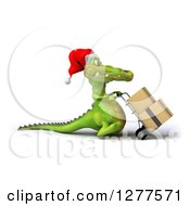 Clipart Of A 3d Christmas Crocodile Facing Right And Moving Boxes On A Dolly Royalty Free Illustration