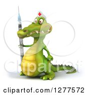 Clipart Of A 3d Crocodile Nurse Facing Left And Holding A Vaccine Syringe Royalty Free Illustration