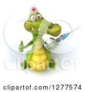 Clipart Of A 3d Crocodile Nurse Giving A Thumb Up And Holding A Vaccine Syringe Royalty Free Illustration