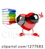 Clipart Of A 3d Heart Character Wearing Sunglasses Holding Up A Finger And A Stack Of Books Royalty Free Illustration