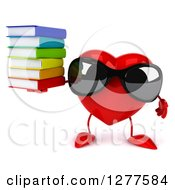 Clipart Of A 3d Heart Character Wearing Sunglasses And Holding A Stack Of Books Royalty Free Illustration