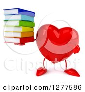 Clipart Of A 3d Heart Character Holding And Pointing To A Stack Of Books Royalty Free Illustration