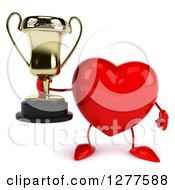 Clipart Of A 3d Heart Character Holding A Trophy Royalty Free Illustration