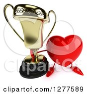 Clipart Of A 3d Heart Character Holding Up A Trophy Royalty Free Illustration