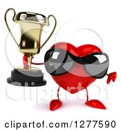 Clipart Of A 3d Heart Character Wearing Sunglasses Holding A Thumb Down And A Trophy Royalty Free Illustration