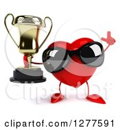 Clipart Of A 3d Heart Character Wearing Sunglasses Holding Up A Finger And A Trophy Royalty Free Illustration