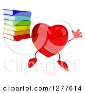 Clipart Of A 3d Heart Character Jumping With A Stack Of Books Royalty Free Illustration