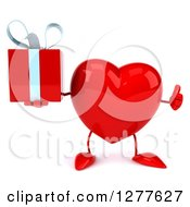 Clipart Of A 3d Heart Character Holding A Thumb Up And A Gift Royalty Free Illustration