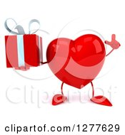 Clipart Of A 3d Heart Character Holding Up A Finger And A Gift Royalty Free Illustration