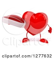 Clipart Of A 3d Heart Character Holding A Beef Steak Royalty Free Illustration