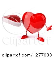 Clipart Of A 3d Heart Character Shrugging And Holding A Beef Steak Royalty Free Illustration