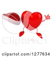 Clipart Of A 3d Heart Character Jumping And Holding A Beef Steak Royalty Free Illustration