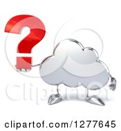 Clipart Of A 3d Silver Cloud Character Holding A Question Mark Royalty Free Illustration