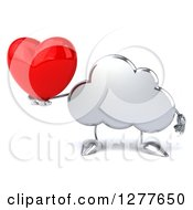 Clipart Of A 3d Silver Cloud Character Holding A Heart Royalty Free Illustration