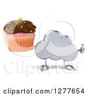 Clipart Of A 3d Silver Cloud Character Holding A Thumb Up And A Chocolate Frosted Cupcake Royalty Free Illustration