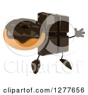 Clipart Of A 3d Chocolate Candy Bar Character Facing Right Jumping And Holding A Donut Royalty Free Illustration
