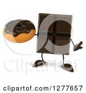 Clipart Of A 3d Chocolate Candy Bar Character Shrugging And Holding A Donut Royalty Free Illustration