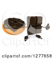 Clipart Of A 3d Chocolate Candy Bar Character Holding Up A Thumb And A Donut Royalty Free Illustration
