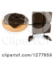 Clipart Of A 3d Chocolate Candy Bar Character Holding Up A Donut Royalty Free Illustration