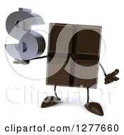 Clipart Of A 3d Chocolate Candy Bar Character Holding A Dollar Symbol And Shrugging Royalty Free Illustration