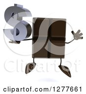 Clipart Of A 3d Chocolate Candy Bar Character Holding A Dollar Symbol And Jumping Royalty Free Illustration