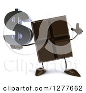 Clipart Of A 3d Chocolate Candy Bar Character Holding Up A Finger And A Dollar Symbol Royalty Free Illustration