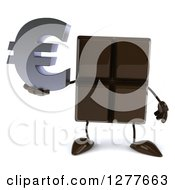 Clipart Of A 3d Chocolate Candy Bar Character Holding A Euro Symbol Royalty Free Illustration