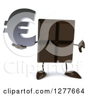 Clipart Of A 3d Chocolate Candy Bar Character Holding A Euro Symbol And Thumb Down Royalty Free Illustration