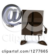 Clipart Of A 3d Chocolate Candy Bar Character Holding An Email Arobase Symbol Royalty Free Illustration