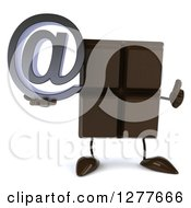 Clipart Of A 3d Chocolate Candy Bar Character Holding A Thumb Up And An Email Arobase Symbol Royalty Free Illustration