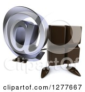 Clipart Of A 3d Chocolate Candy Bar Character Holding Up An Email Arobase Symbol Royalty Free Illustration