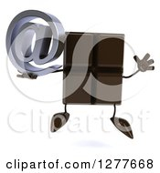 Clipart Of A 3d Chocolate Candy Bar Character Jumping And Holding An Email Arobase Symbol Royalty Free Illustration