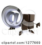 Clipart Of A 3d Chocolate Candy Bar Character Holding Up An Email Arobase Symbol And Thumb Down Royalty Free Illustration