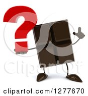 Clipart Of A 3d Chocolate Candy Bar Character Holding Up A Finger And A Question Mark Royalty Free Illustration