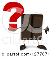 Clipart Of A 3d Chocolate Candy Bar Character Holding A Thumb Down And A Question Mark Royalty Free Illustration
