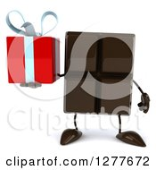 Clipart Of A 3d Chocolate Candy Bar Character Holding A Gift Royalty Free Illustration