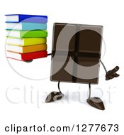 Clipart Of A 3d Chocolate Candy Bar Character Shrugging And Holding A Stack Of Books Royalty Free Illustration