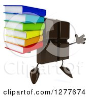 Clipart Of A 3d Chocolate Candy Bar Character Facing Right Jumping And Holding A Stack Of Books Royalty Free Illustration