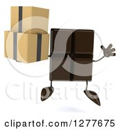 Clipart Of A 3d Chocolate Candy Bar Character Jumping And Holding Boxes Royalty Free Illustration