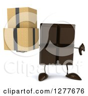 Clipart Of A 3d Chocolate Candy Bar Character Holding Boxes And A Thumb Down Royalty Free Illustration