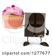 Clipart Of A 3d Chocolate Candy Bar Character Holding A Pink Frosted Cupcake Royalty Free Illustration
