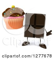 Clipart Of A 3d Chocolate Candy Bar Character Shrugging And Holding A Cupcake Royalty Free Illustration