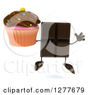 Clipart Of A 3d Chocolate Candy Bar Character Jumping With A Cupcake Royalty Free Illustration